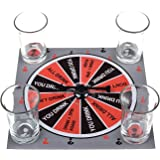 Kloud City 1 Playing Board with Spinner and 4 Shot Glasses Assorted Drinking Game Set , Shot Glass Roulette
