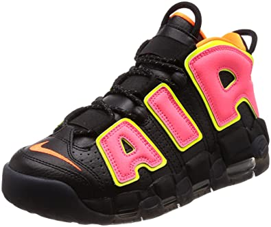 NIKE Womens Air More Uptempo BlackHot Punch Volt Basketball Shoe 7 Women  US