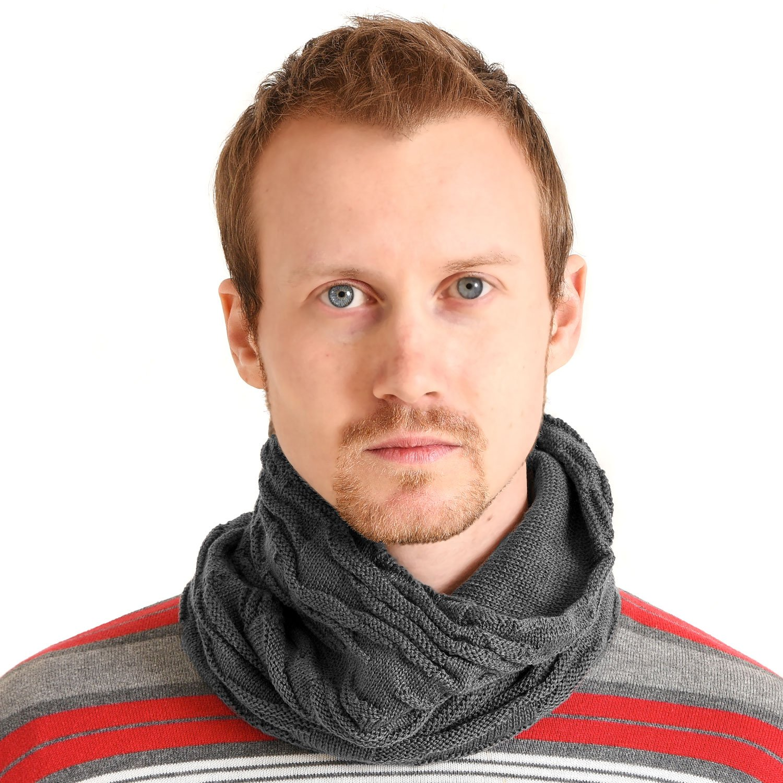 Casualbox Unisex Neck Warmer Knit Neck Gaiter Camo Warm Winter Knitted Scarf Black