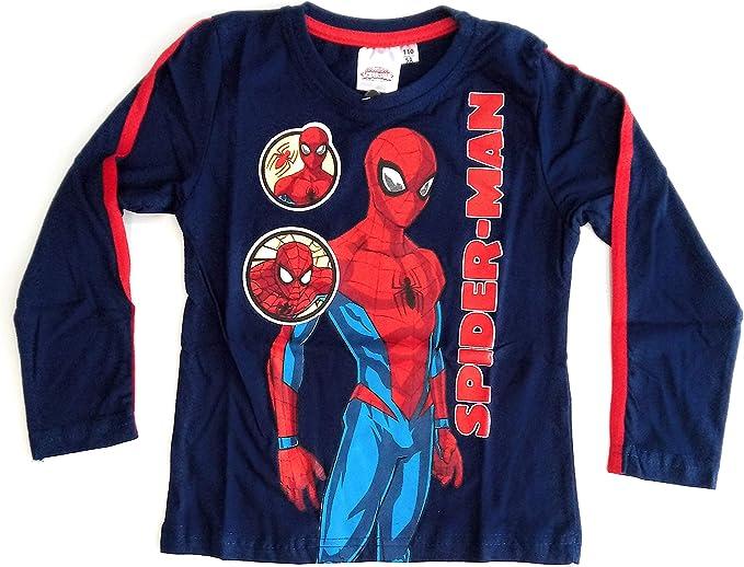Spíderman Camiseta Manga Larga - Camiseta Marvel Algodón (Azul ...