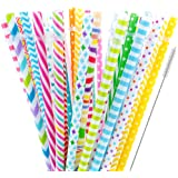"""40 Pieces Reusable Straws,BPA-Free,9"""" Colorful Printing Hard Platic Stripe Drinking Straw for Mason Jar Tumbler,Family or Party Use,Cleaning Brush Included(Random Pattern)"""