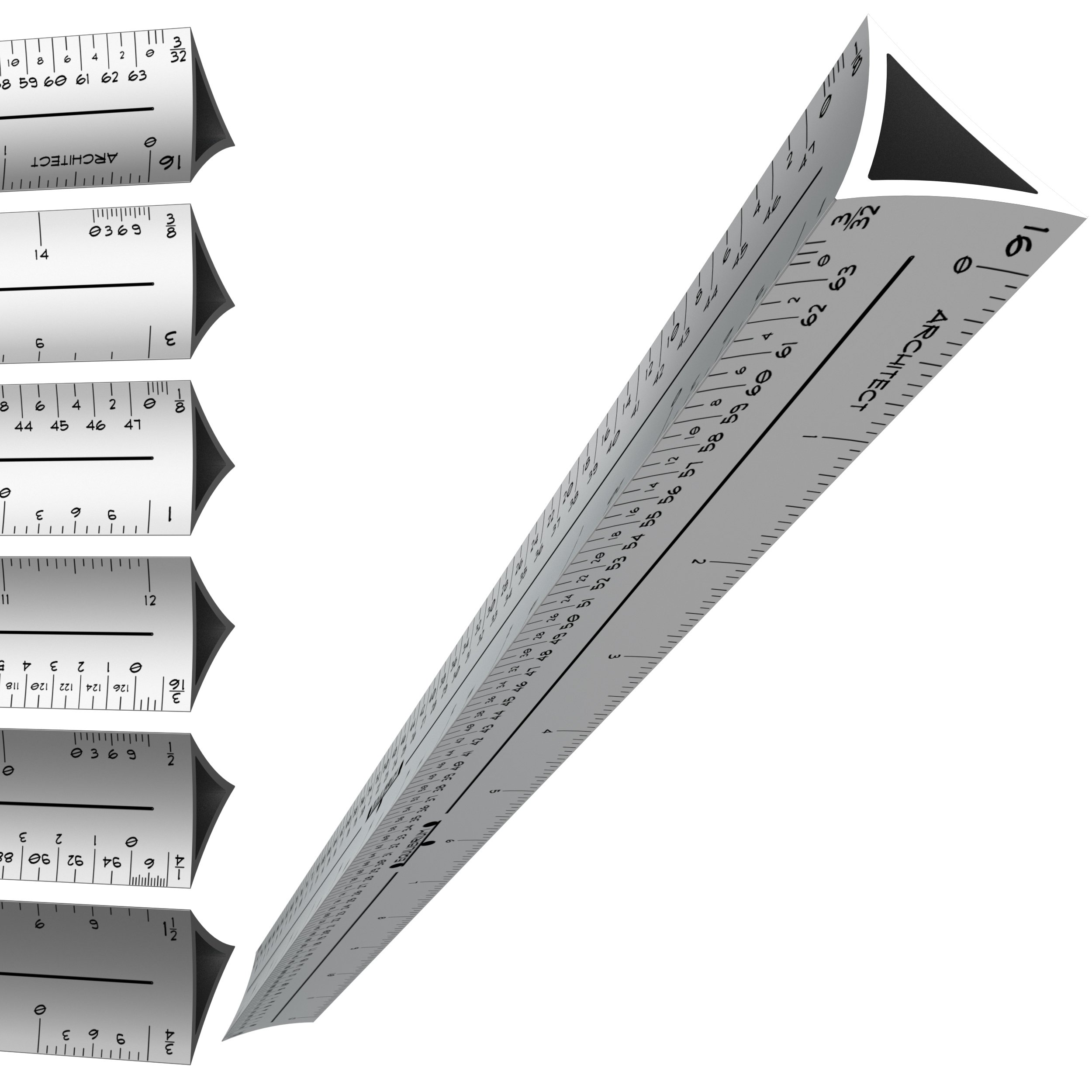 Equilibrium Architects Scale - 12 Inch Triangular Aluminum Drafting Scale Ruler in Common Imperial Units - Great Gift for Engineers Draftspeople Students and More (12'' Imperial Units, Matte Aluminum) by Equilibrium