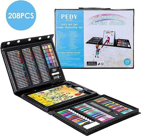 Pedy Colori Valigetta 208 Pezzi Comprende Pastelli, Matite Colorate Set d'Arte per Disegnare e Dipingere, Set di Pittura per Bambini, Artisti