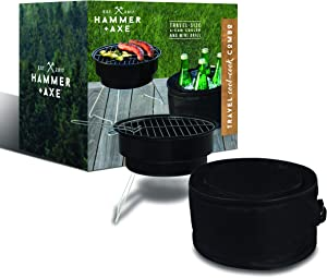 Hammer + Axe 2-Piece Mini Grill Insulated Cooler BBQ Set Travel Cool-Cook Combo for Sporting Events Picnics Tailgating Camping