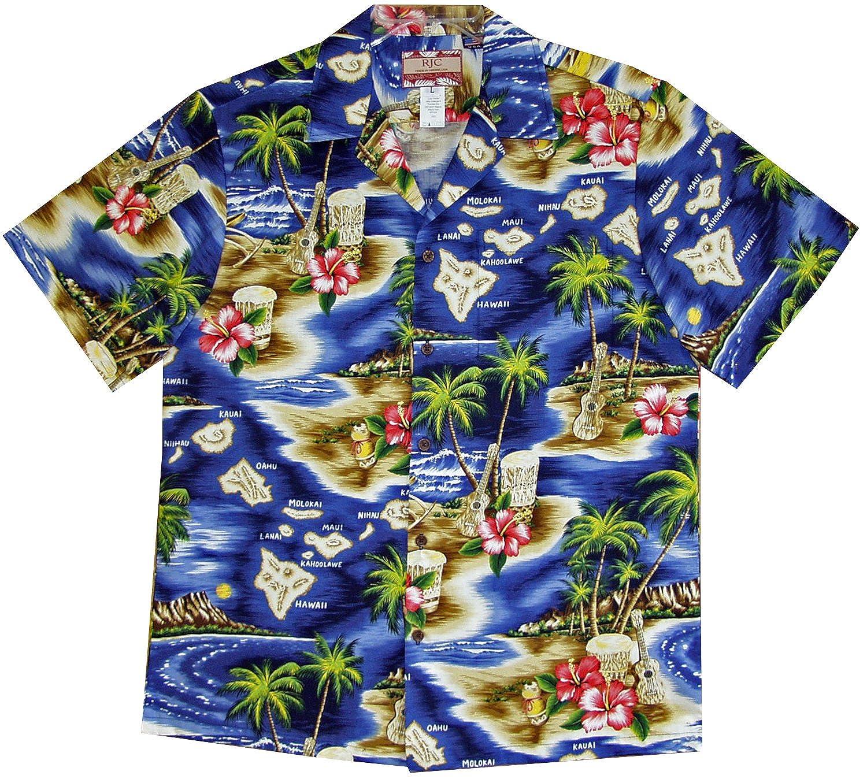 RJC Mens Hibiscus Hawaiian Islands Shirt