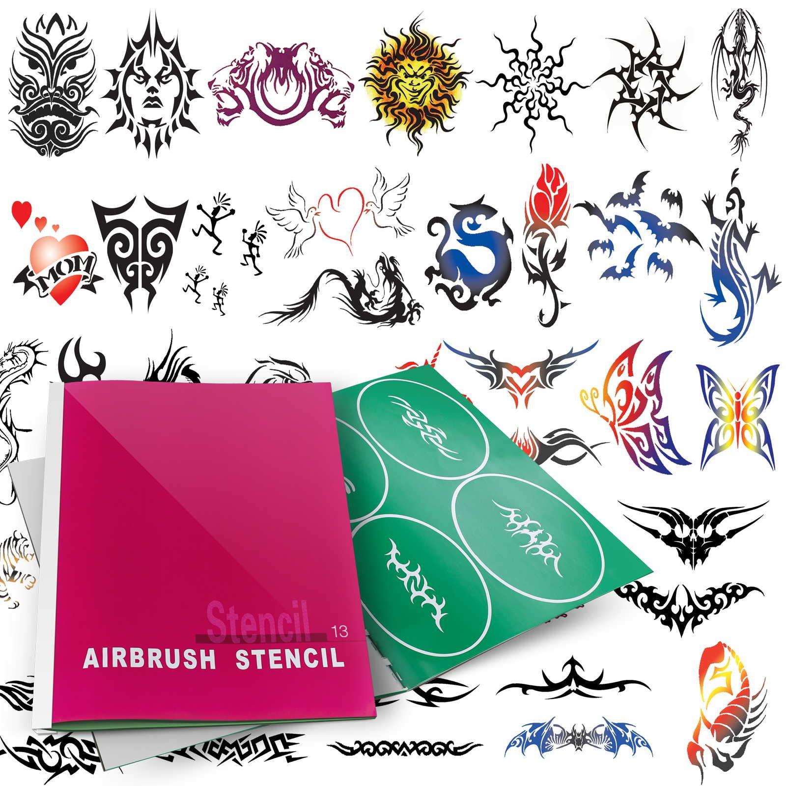 PointZero Temporary Tattoo Airbrush Stencils 53 Designs - Book 13 by PointZero