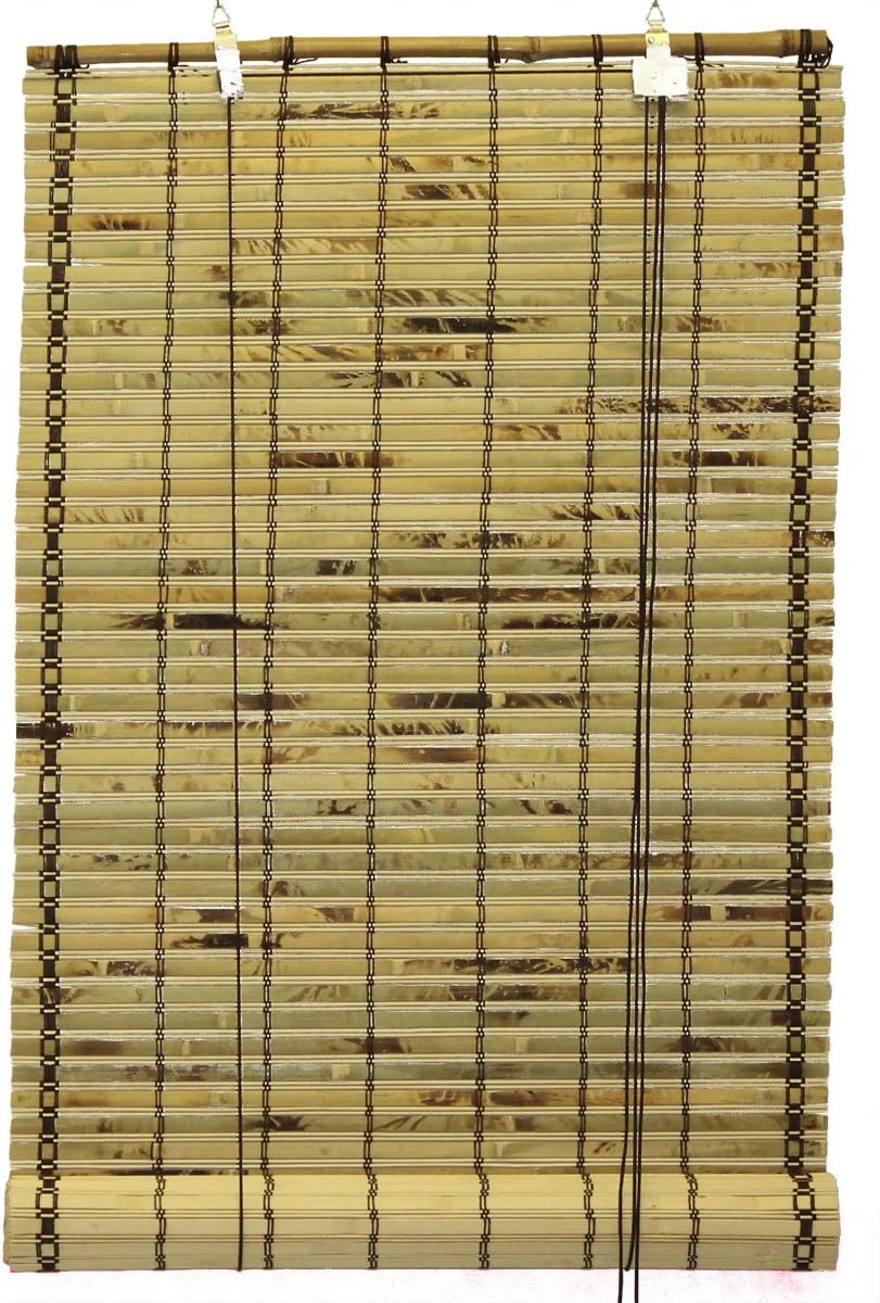Seta Direct, Natural Bamboo Slat Tortoise Shell Roll Up Window Blind 72-Inch Wide by 72-Inch Length
