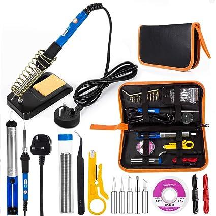 EletecPro Juego de herramientas eléctricas de soldadura de temperatura ajustable 5 puntas de hierro, 6