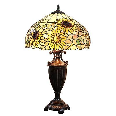 16 pouces Pastoral Luxe Tournesol perle Tiffany Style Lampe de Table Lampe de chevet lampe de bureau Lampe de salon Bar
