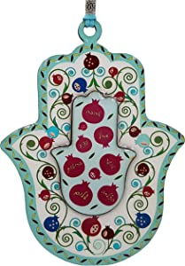 TALISMAN4U Seven Blessings Hamsa Wall Decor Multicolor Pomegranate Design Evil Eye Protection Amulet (Seven Blessings Hamsa)