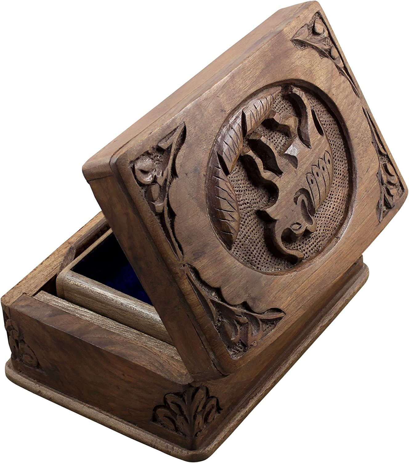 RoyaltyRoute Decorative Indian Wooden Jewelry Box for Holding Ring, Earring & Small Jewelery, 6 Inches