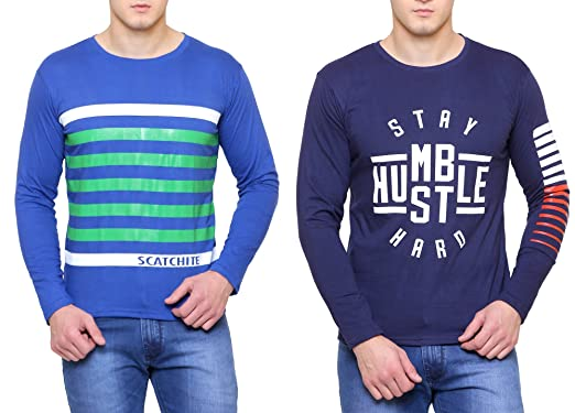 32546c28b947f SCATCHITE Men s Cotton Full Sleeve and Thumb T-shirt and (Blue