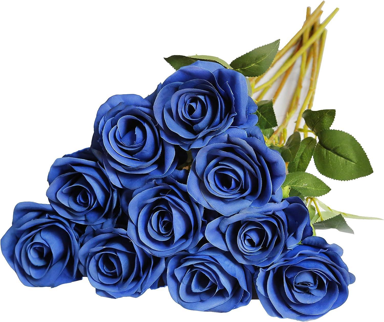 DuHouse 10 rosas artificiales de seda con flores de imitación de rosas largas para arreglo, boda, centro de mesa, fiesta, hogar, cocina, decoración ...