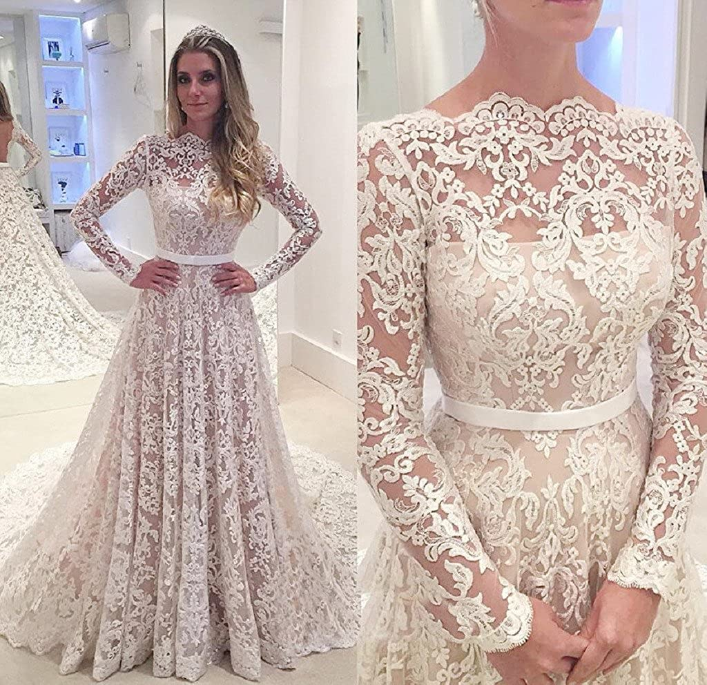 3dfb24d368a APXPF Women s Lace Tulle Illusion Neckline Wedding Dress for Bride with Long  Sleeves at Amazon Women s Clothing store