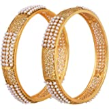 Shining Diva Gold Plated Traditional Jewellery Pearl Bangles for Women