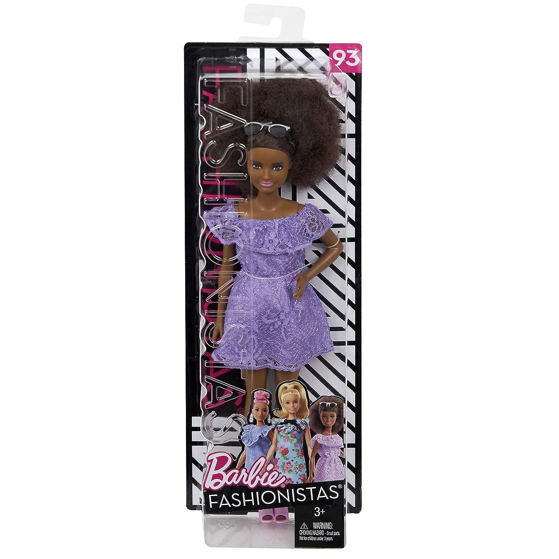 Fashionistas Puppe Mattel Barbie mit Blumenmuster im lila Spitzenkleid