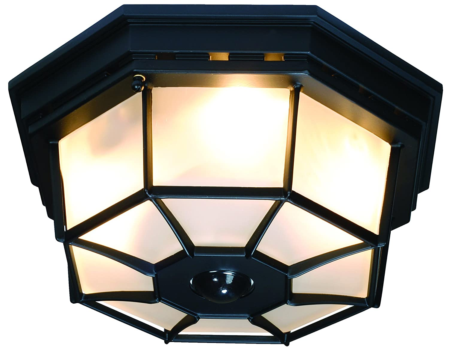 Heath Zenith HZ 4300 BK B 360 Degree Motion Activated Octagonal Ceiling  Light, Black   Close To Ceiling Light Fixtures   Amazon.com