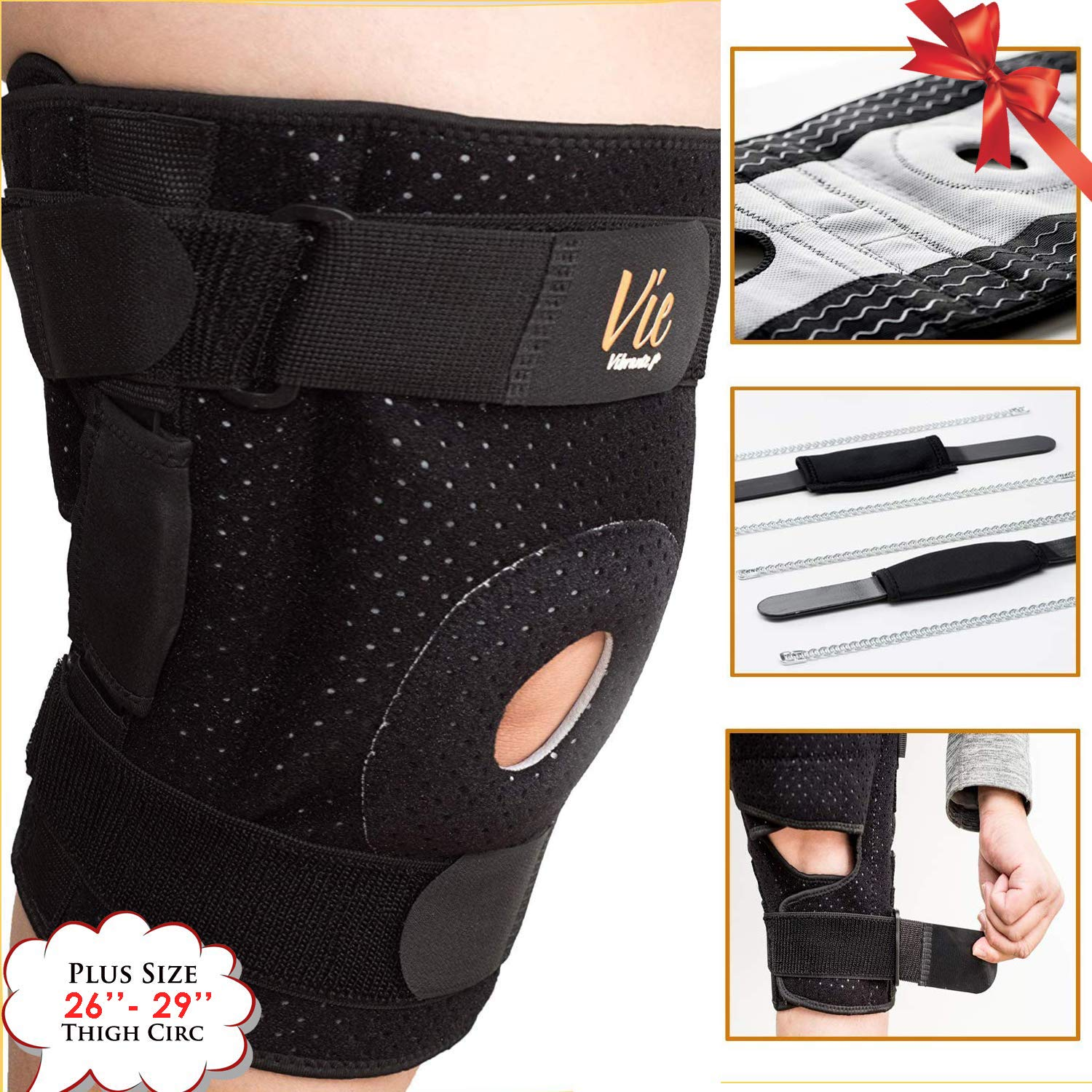 Hinged Knee Brace Plus Size - Newly Engineered Knee Braces with Enhancement on Flexibility, Extra Supportive, Non-Slip and Non Bulky - Wrap Around to fit Larger Legs for Men and Women - Vie Vibrante