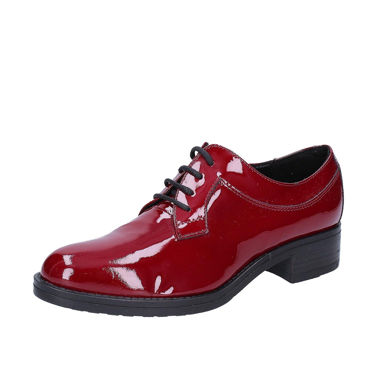 Olga RUBINI - Zapatos de Cordones de Charol para Mujer Morado Burdeos 36 EU