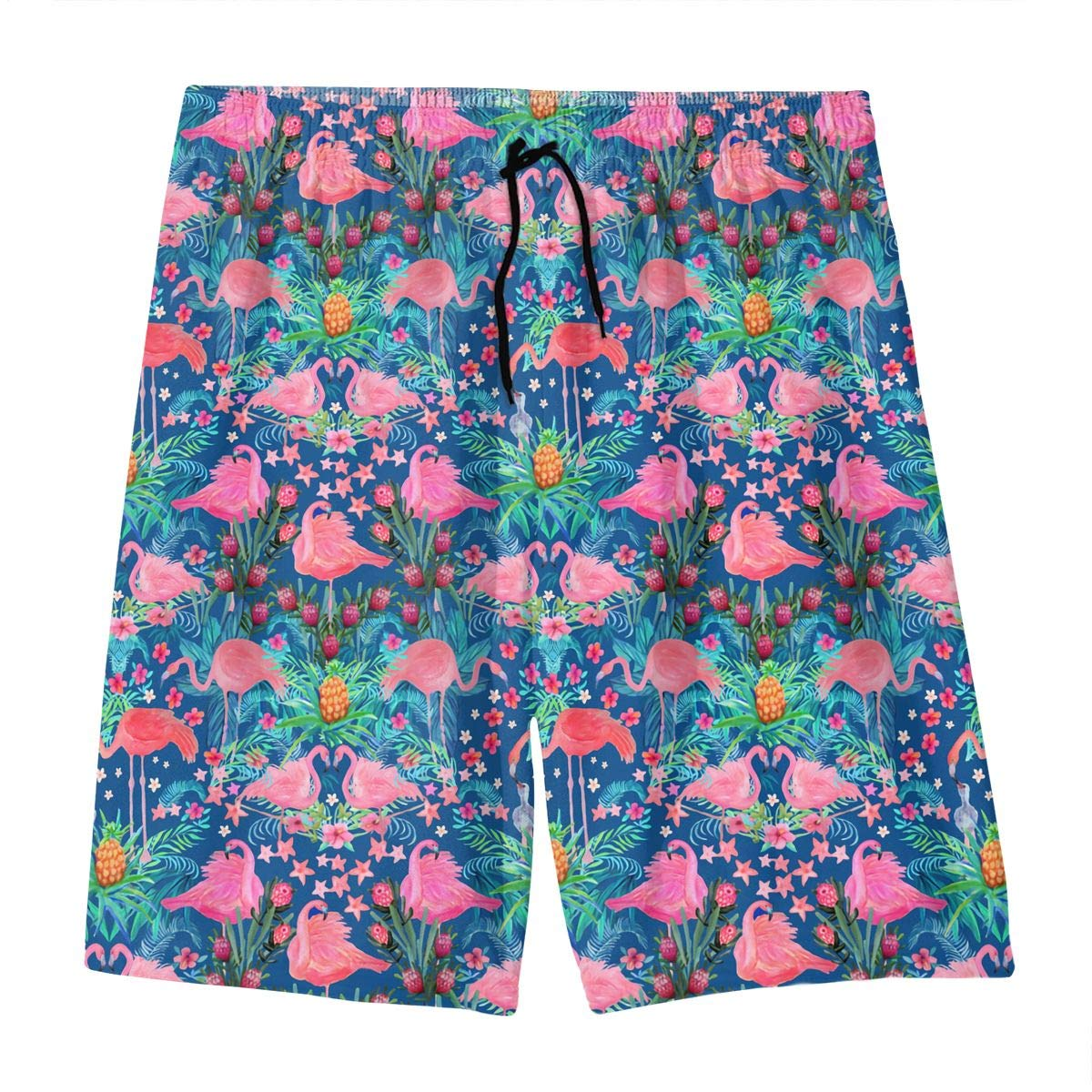 Flamingo Pineapple Woodland Navy Blue Teen Swim Trunks Bathing Suit Shorts Board Beach