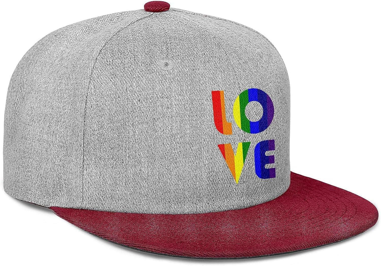 Gay Pride Rainbow Flag Love Men Womens Wool Baseball Cap Adjustable Snapback Beach Hat