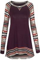 Women's Aztec Print Long Sleeve Lightweight Tunic Top