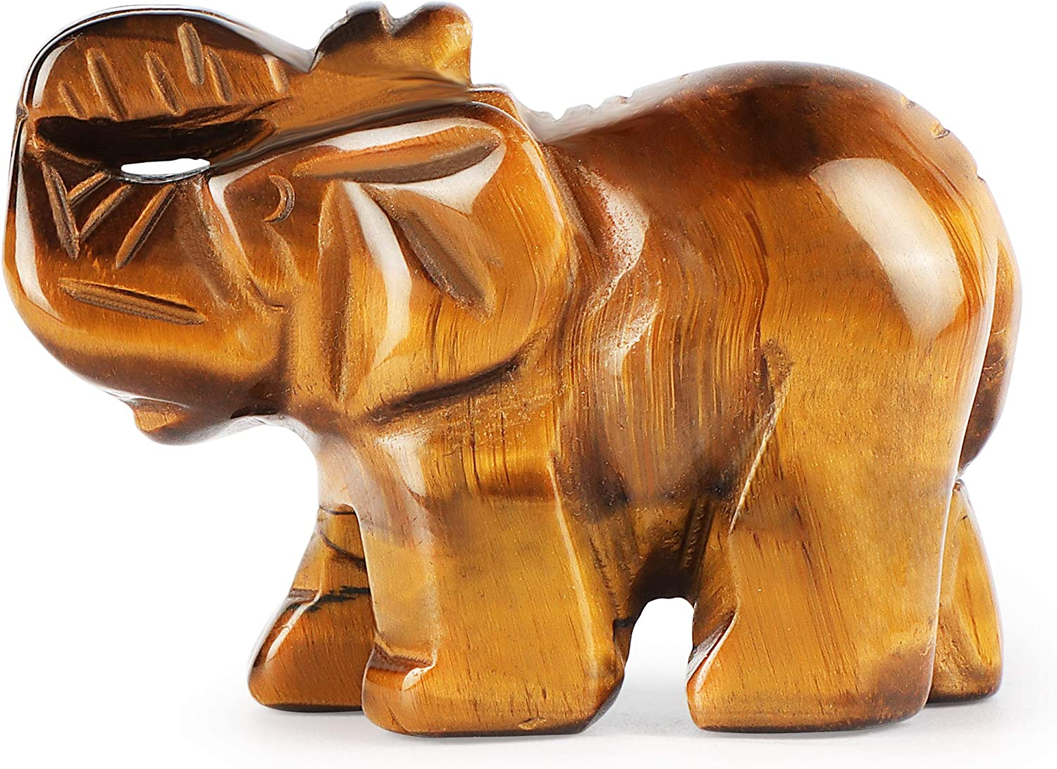 Artistone2 Elephant Stone Statue,Natural Hand- Carved Healing Crystal Gemstones Elephant Figurine Statues Home Decor Desk Ornametns with Gift Box(Yellow Tiger Eye
