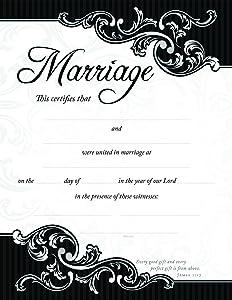 """Marriage Certificates (Package of 6) - 8.5"""" x 11"""" Black Foil Embossed - U2794 Warner Press"""