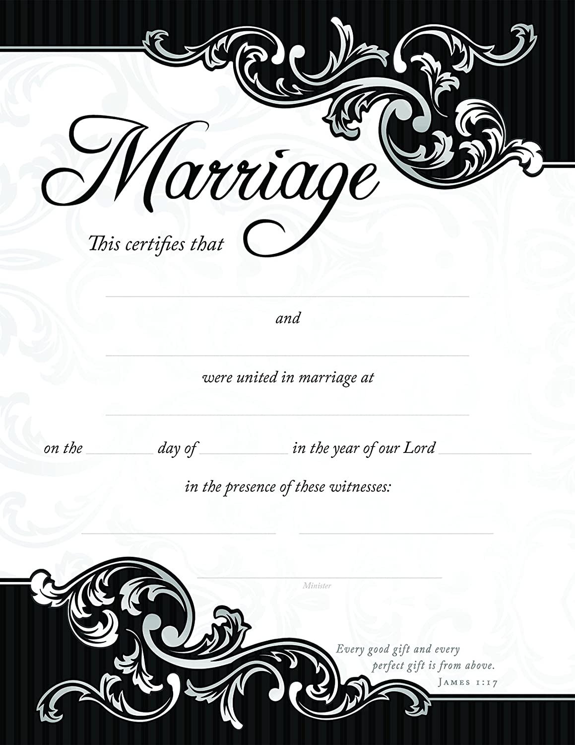 Amazon Marriage Certificates Package Of 6 85 X 11 Black