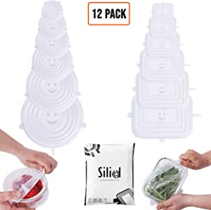 Silid Pack 12 Silicone Stretch Lids | BPA-Free Stretchable Round and Rectangle Food Covers to Fit All of Containers | Microwave and Dishwasher Safe - White