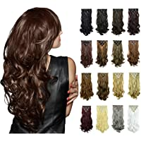 FESHFEN 20 inch 7Pcs 16Clips Full Head Clip in Hair Extensions Long Curly Synthetic Hair Extensions Hairpieces for Women 130g