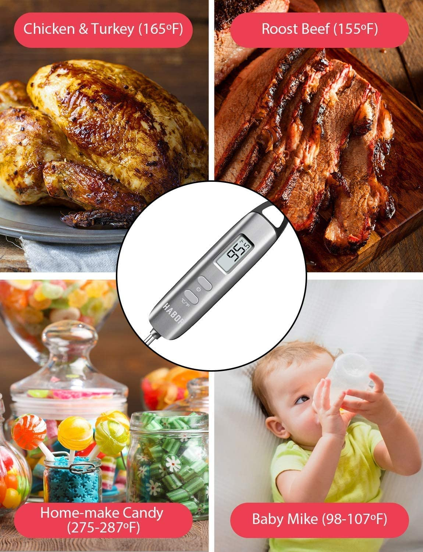 Habor Grillthermometer Fleischthermometer Steakthermometer Küchenthermometer Milchthermometer Kerntemperatur Thermometer Lange Probe, mit 5 Sekunden Instant Read-Out für Küche Grill BBQ Essen. Steel