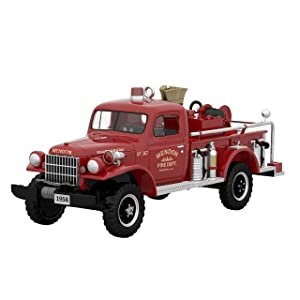 Hallmark Keepsake Christmas Ornament 2019 Year Dated Brigade 1958 Dodge Power Wagon Fire Engine with Light