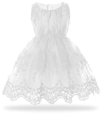 94015c3fa Cielarko Girls Flower Lace Dress Pink Wedding Party Kids Dresses for ...
