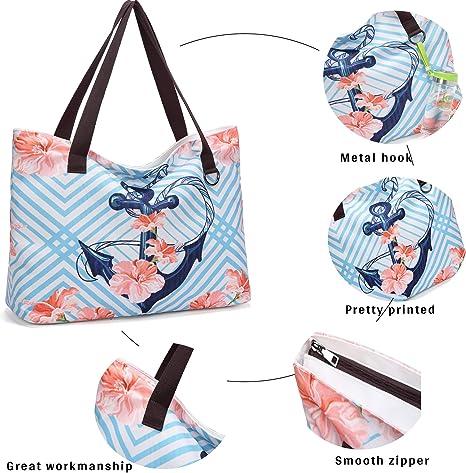 JANSBEN Bolsa de Playa Grande con Cremallera XXL Shopper Bolsa de Hombro Bolsos Totoes Bolso de Mano para Mujer Hombre (Ancla)