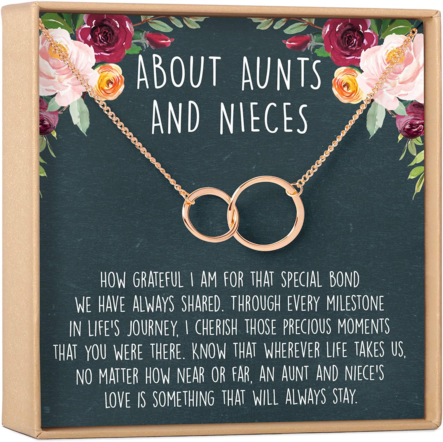 Amazon Com Dear Ava Aunt Niece Necklace Aunt Niece Gift Aunt Niece Jewelry Aunt Niece Quotes Aunt Necklace 2 Asymmetrical Circles Rose Gold Plated Brass Na Jewelry