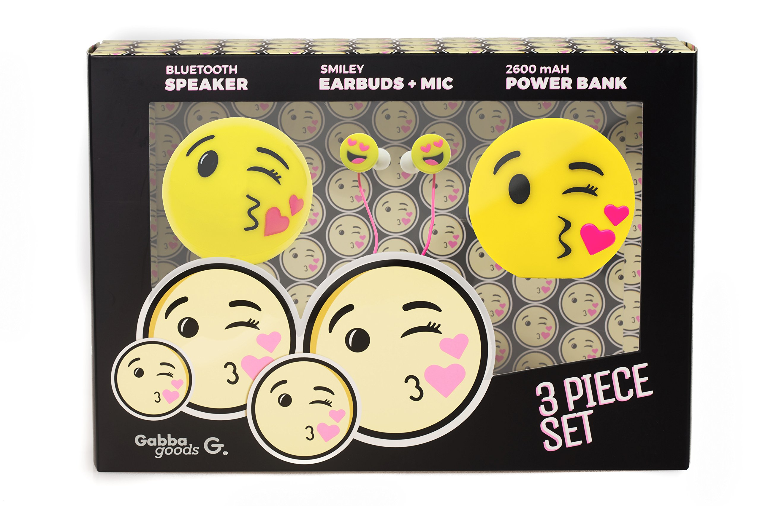 GabbaGoods 3 Piece Kissy Face Emoticon Kids Electronics Combo Gift Set- Gabba Goods Bluetooth Wireless Audio Sound Speaker, In-Ear Emoji EarBuds with Mic, and a 2600 mAh Portable Charging Power Bank