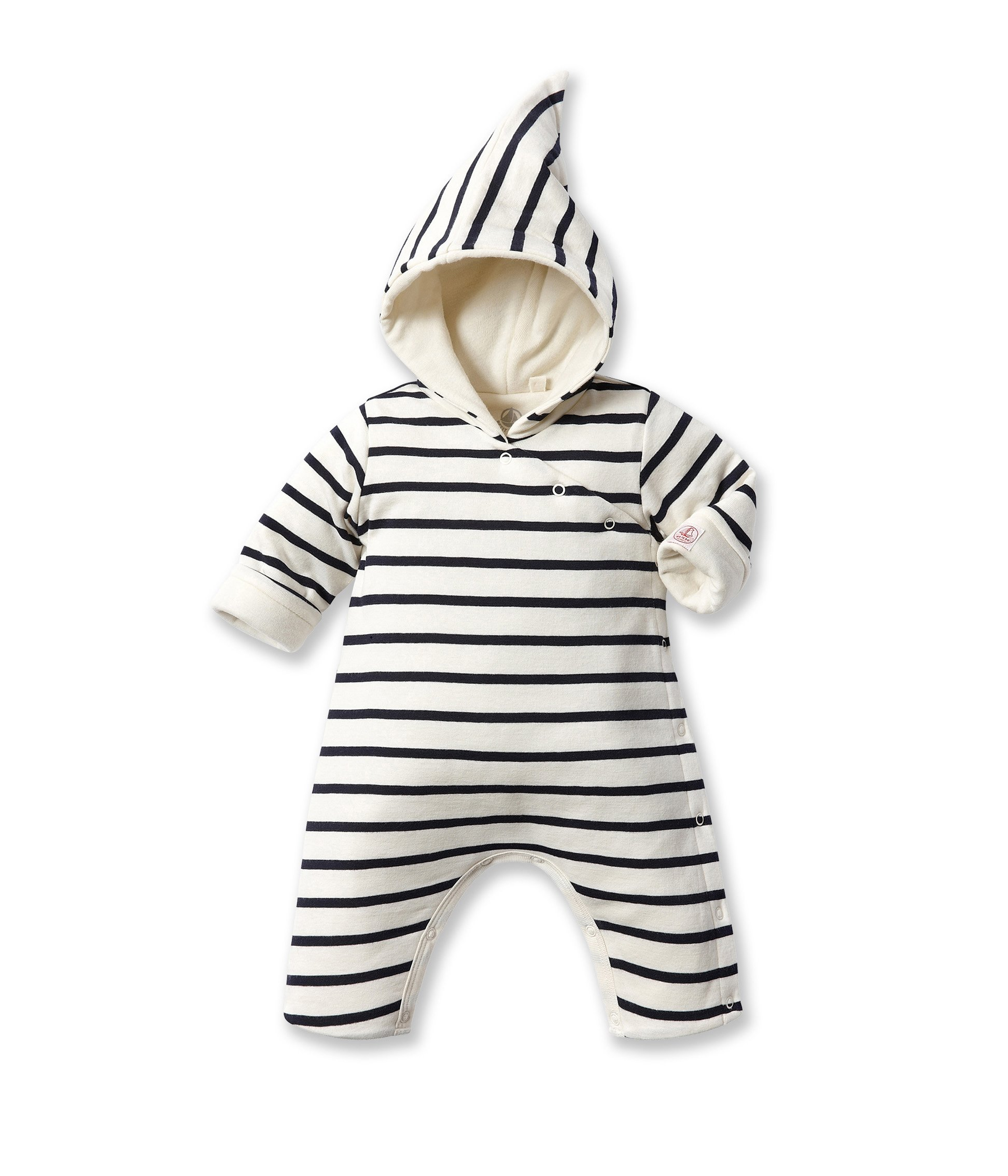 Petit Bateau Baby-Boys Newborn Hooded Striped Romper, Navy/White, 3 Months