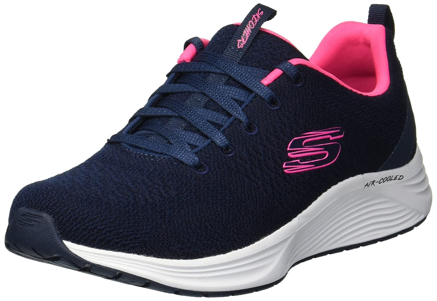 TALLA 40 EU. Skechers Women's Skyline Soft Knit Lace-Up Trainer Navy/Pink