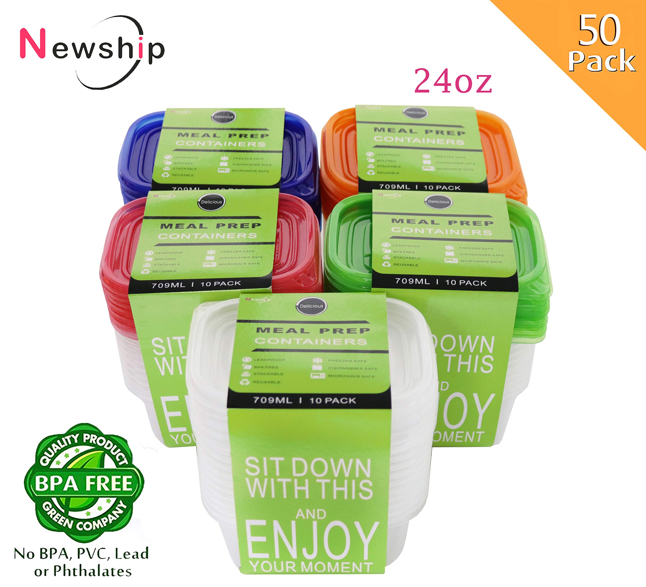 [50Pack,24oz] NewShip Plastic Food Storage Containers with Easy Open Lids Colorful Kids Lunch Meal Prep Containers BPA Free Bento Lunch Box Containers Leftover Food Prep Containers Freezer Containers