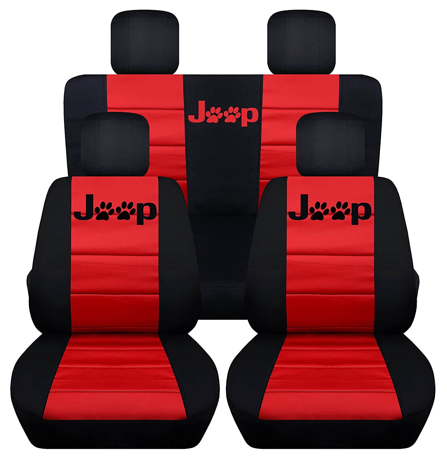 Black and Red Designcovers Fits 2013 to 2017 Jeep Wrangler 4 Door Paw Print Seat Covers 21 Color Options