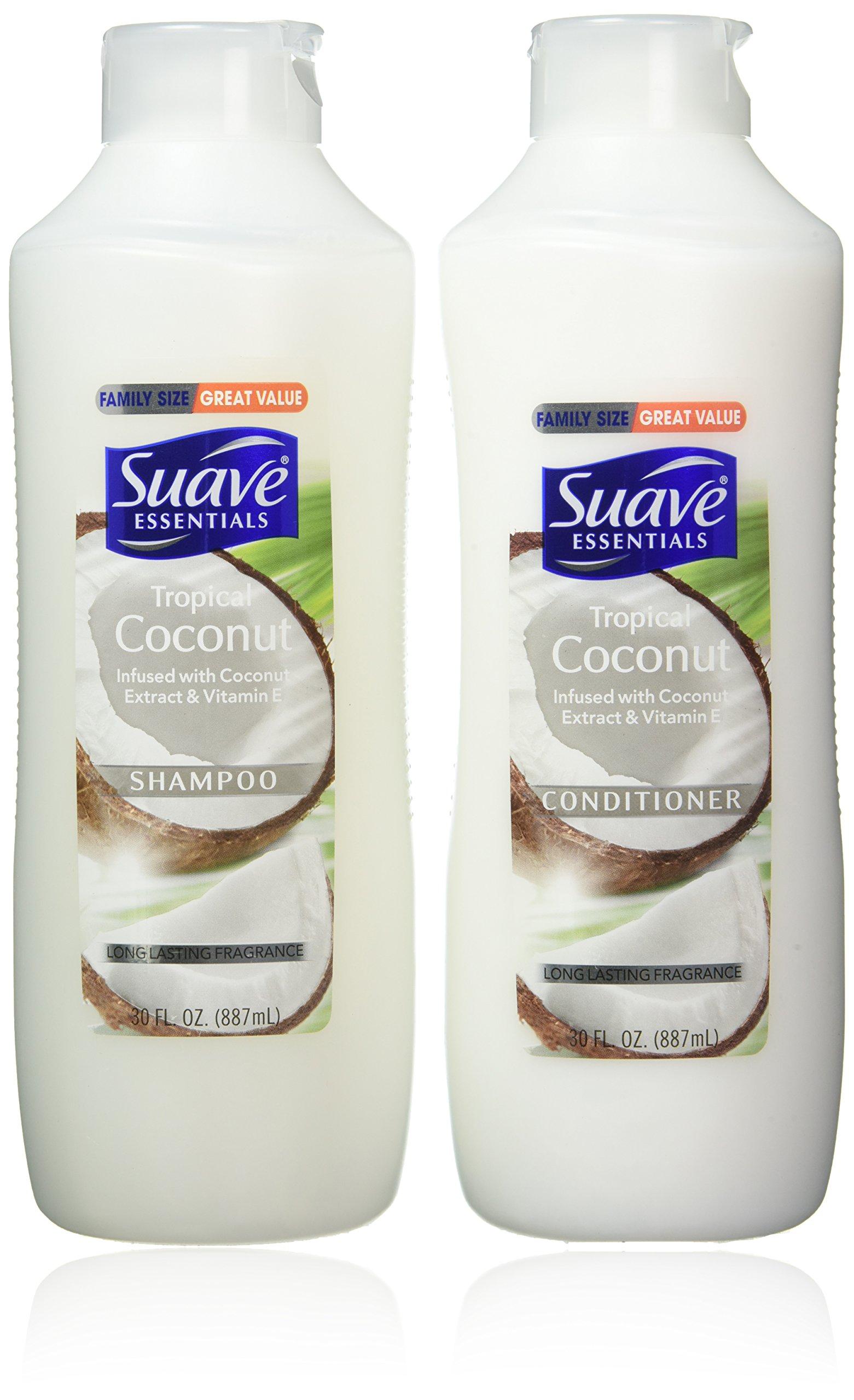 Suave Essentials Shampoo & Conditioner Set, Tropical Coconut, 30 Ounce Each by Suave