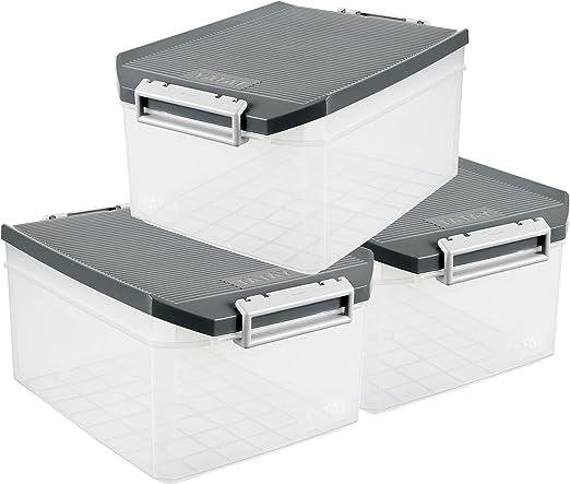 TATAY 1150122 Lote de 3 Cajas Multiusos en Plástico de Alta Calidad de 14 Litros de Capacidad, Color Gris, Medidas 39 x 27 x 19 cm: Amazon.es: Hogar