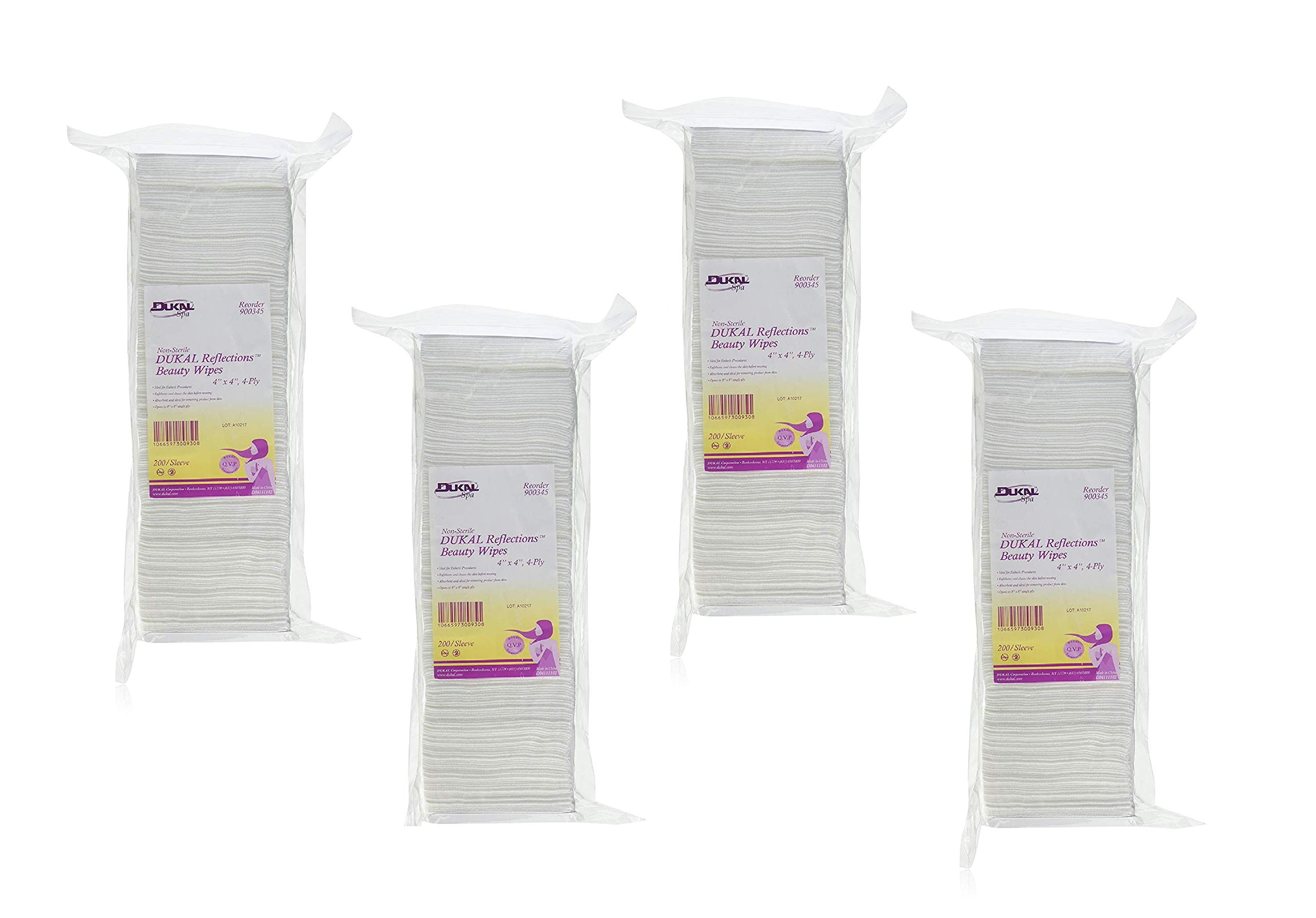 Non-Sterile - DUKAL Reflections Beauty Wipes - Latex Free (4-Ply) (4'' x 4'') - 200 count (4 Pack)