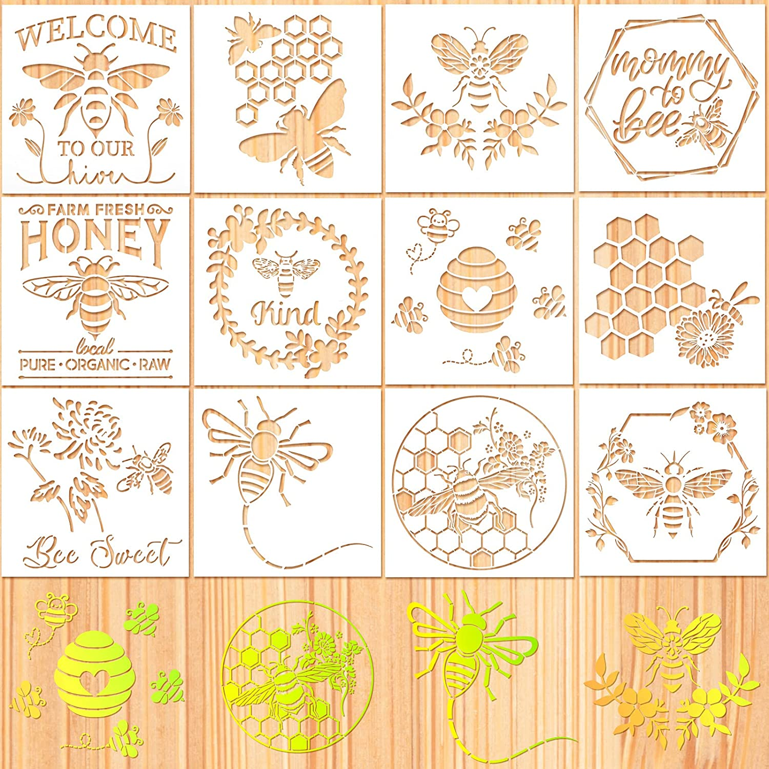 12 Pieces Bee Stencil Template Honeycomb Honey Stencils Reusable Mylar DIY Bee Sweet Template Welcome to Our Stencils for Painting on Wall Home Wood (8 x 8 Inches)