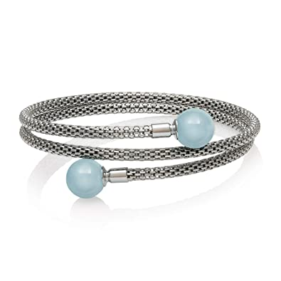 4609a43815d8 Sterling Silver Natural Aquamarine Gemstone Bracelet  Amazon.co.uk   Jewellery