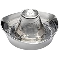 PetSafe Seaside Stainless Pet Fountain – for Cats and Small Dogs – Quiet Bubbling Water Flow – Scratch and Rust…