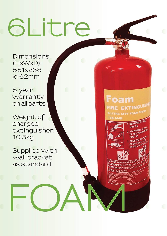 6Ltr Foam Fire Extinguisher Safetysavers FM-FSP 6/2