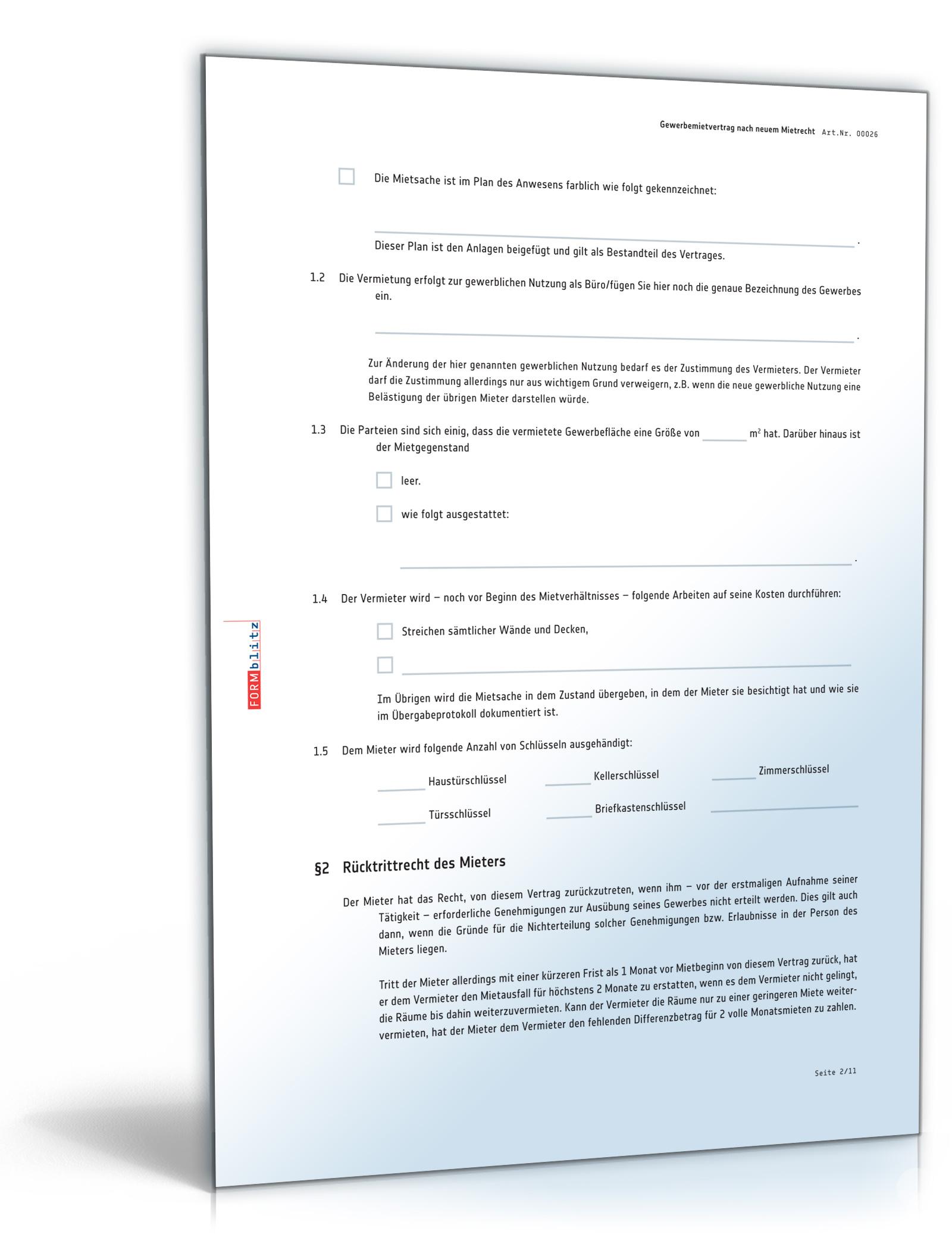 Mietvertrag gewerbliche Räume (PDF) - Gewerbemietvertrag für ...