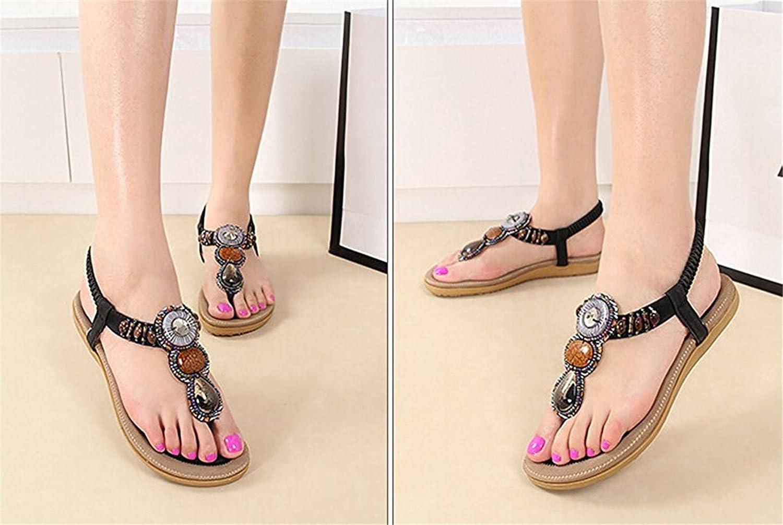 Spearss LightweightWomens Bohemian Beads Gemstone Rubber Thong Flat Sandals Convenient